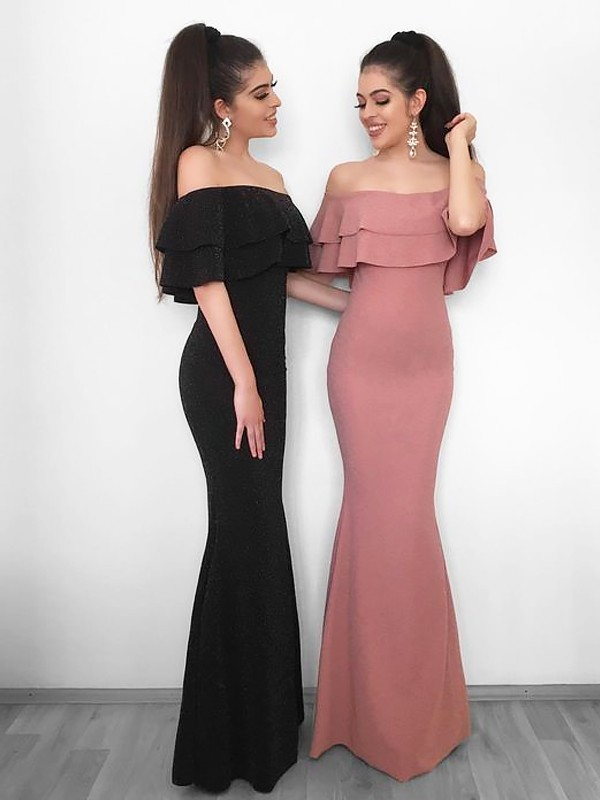Pleased to be Me Sheath Style Off-the-Shoulder Floor-Length With Ruffles Chiffon Dresses