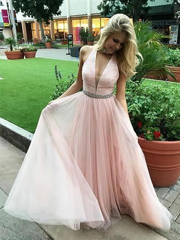 Confident Option Princess Style V-neck Floor-Length With Beading Tulle Dresses