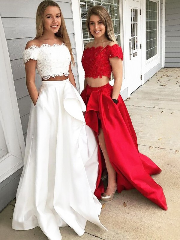 Fabulous Fit Princess Style Off-the-Shoulder Sweep/Brush Train With Lace Satin Two Piece Dresses