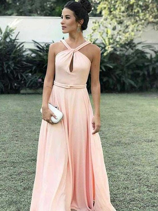 Eye-Catching Charm Princess Style Halter Floor-Length With Ruched Chiffon Dresses