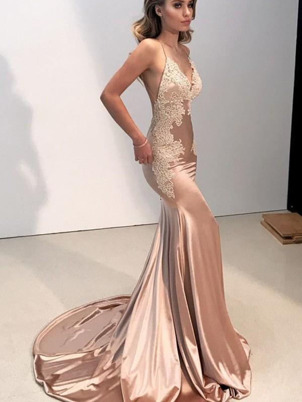 Creative Courage Mermaid Style Straps V-neck With Applique Sweep/Brush Train Silk like Satin Dresses
