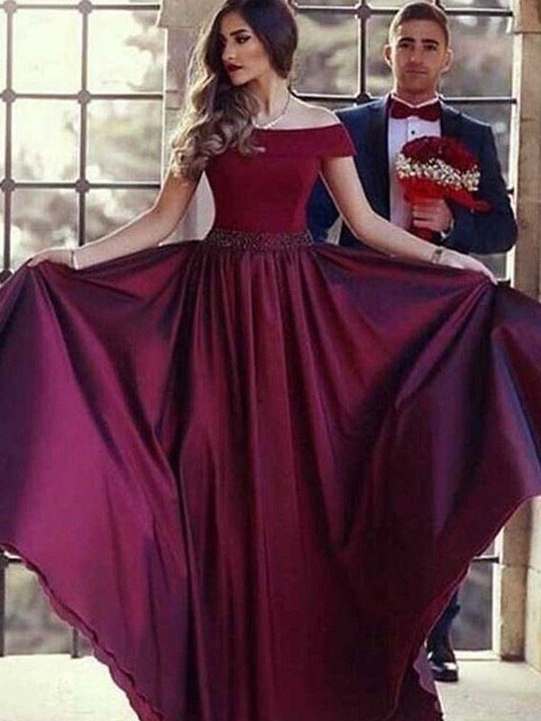 Confident Option Princess Style Off-the-Shoulder Sweep/Brush Train With Ruched Satin Dresses