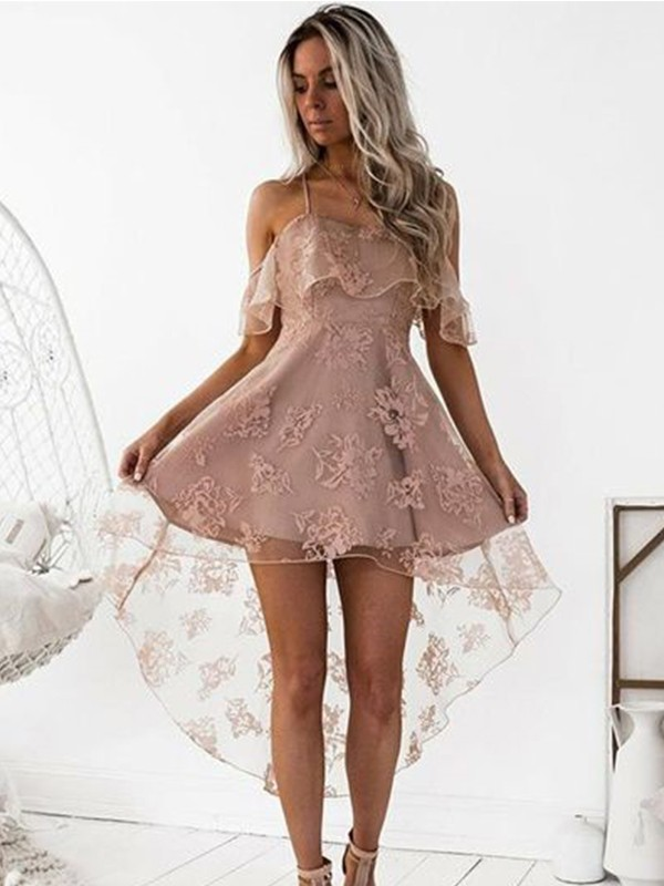 Just My Style Princess Style Off-the-Shoulder Lace Satin Short/Mini Dresses