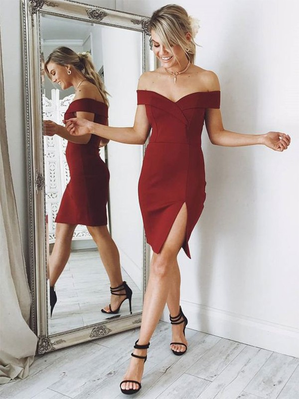 Time to Shine Sheath Style Off-the-Shoulder Satin Knee-length Dresses