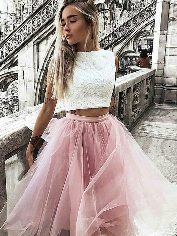 Desired Spotlight Princess Style Tulle Bateau Lace Knee-Length Two Piece Dresses