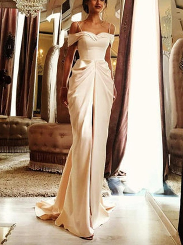 Romantic Vibes Sheath Style Sweep/Brush Train Off-the-Shoulder With Ruffles Silk like Satin Wedding Dresses