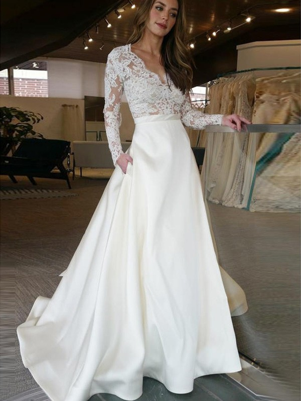 Beautiful You Princess Style Sweep/Brush Train V-neck With Applique Satin Wedding Dresses