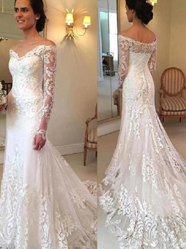 Dashing Darling Mermaid Style Off-the-Shoulder Court Train With Applique Lace Wedding Dresses