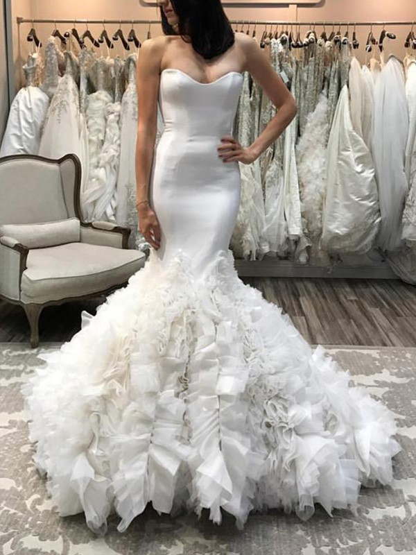 Absolute Lovely Mermaid Style Sweetheart Court Train Organza Wedding Dresses