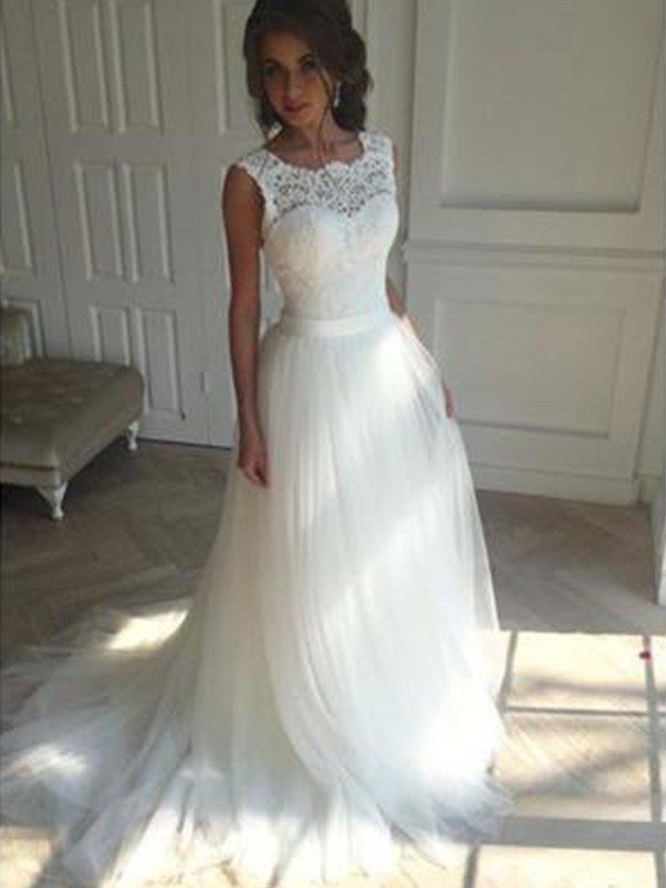 Aesthetic Honesty Princess Style Square Court Train Tulle Wedding Dresses
