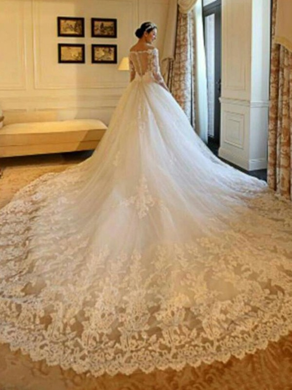 Comfortably Chic Ball Gown Off-the-Shoulder Cathedral Train With Beading With Applique Tulle Wedding Dresses