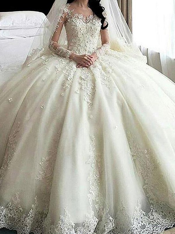 Cordially Delighted Ball Gown Scoop Cathedral Train Lace With Applique Tulle Wedding Dresses