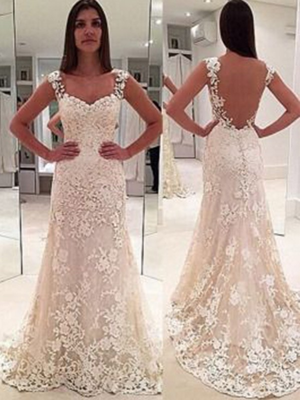 Pretty Looks Sheath Style Straps Court Train Sweetheart With Applique Lace Wedding Dresses