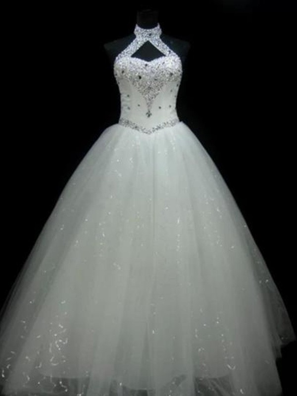 Pleased to be Me Ball Gown Halter Floor-Length With Beading Sequin Tulle Wedding Dresses