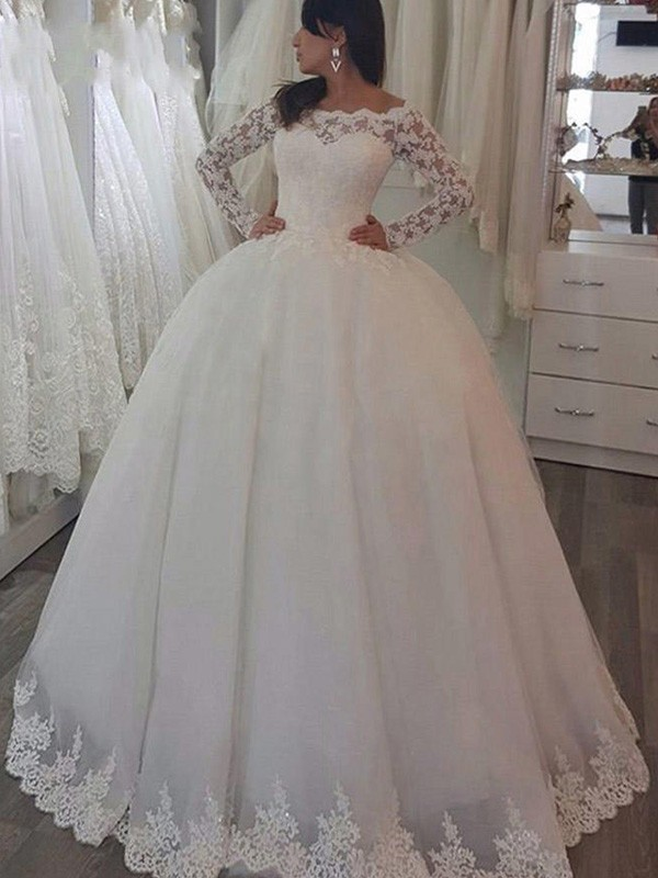 Visual Moment Ball Gown Off-the-Shoulder Sweep/Brush Train With Applique Lace Wedding Dresses