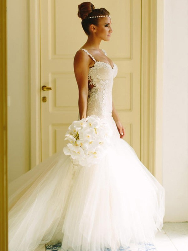 Fresh Picks Mermaid Style Sweetheart Spaghetti Straps Court Train With Applique Lace Tulle Wedding Dresses