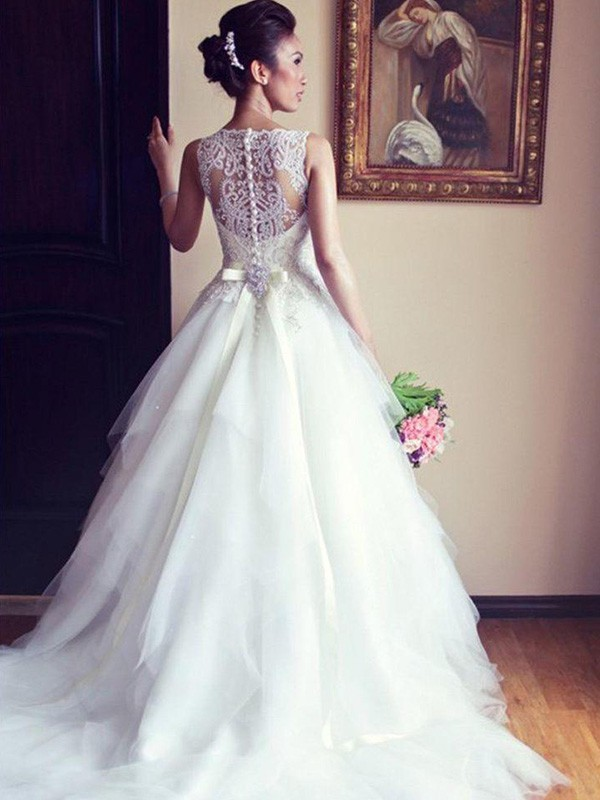 Touch of Texture Princess Style Scoop Chapel Train With Sash/Ribbon/Belt With Beading With Applique Lace Tulle Wedding Dresses