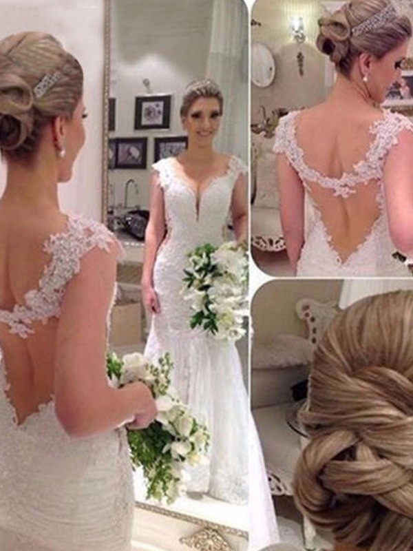 Intuitive Impact Mermaid Style V-neck Sweep/Brush Train With Applique Lace Tulle Wedding Dresses