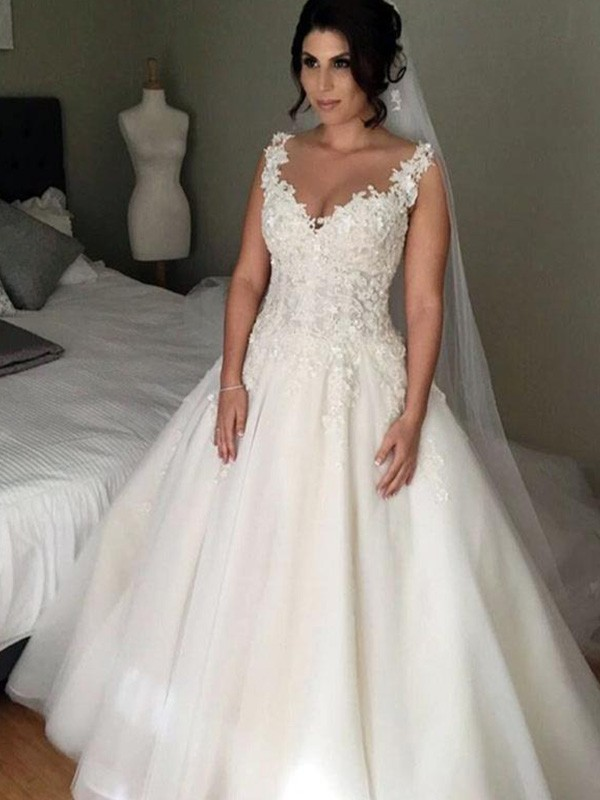 Aesthetic Honesty Ball Gown V-neck Court Train With Applique Lace Tulle Wedding Dresses