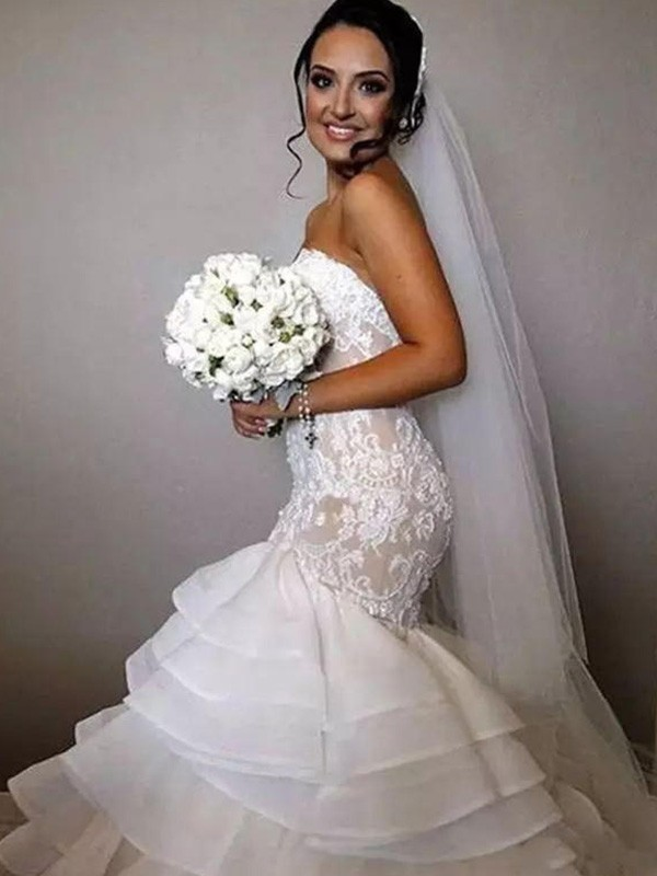 Pleasant Emphasis Mermaid Style Sweetheart Chapel Train With Ruffles With Applique Lace Organza Wedding Dresses