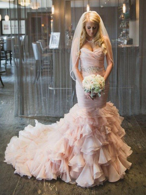 Time to Shine Mermaid Style Sweetheart Court Train With Ruffles Organza Wedding Dresses