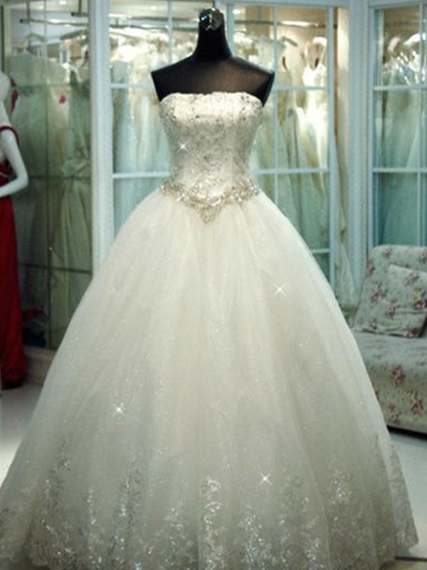 Festive Self Ball Gown Strapless With Beading Tulle Floor-Length Wedding Dresses