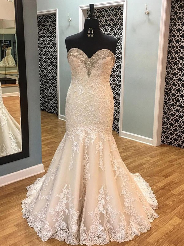 First Impressions Mermaid Style With Applique Tulle Sweetheart Court Train Wedding Dresses