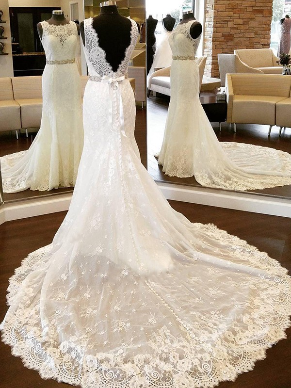 Pleased to be Me Sheath Style Lace Scoop With Bowknot Chapel Train Wedding Dresses