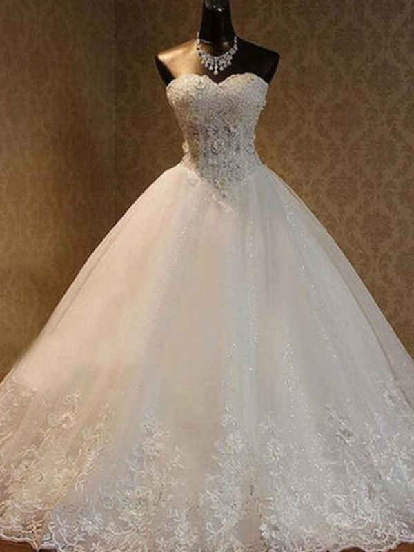 Dashing Darling Ball Gown Tulle With Beading Sweetheart Floor-Length Wedding Dresses