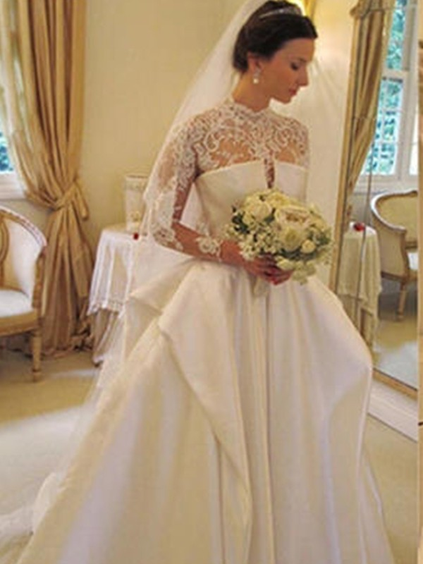Styled to Smile Ball Gown Satin With Lace High Neck Chapel Train Wedding Dresses