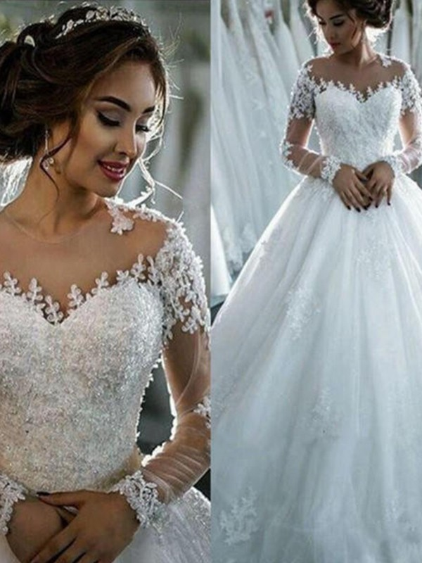 First Impressions Ball Gown With Applique Tulle Scoop Court Train Wedding Dresses
