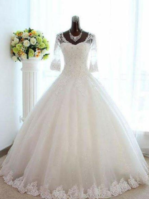 Pleased to be Me Ball Gown V-neck With Beading Tulle Bateau Floor-Length Wedding Dresses