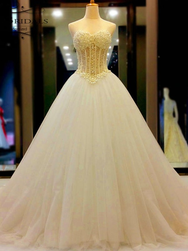 Cheerful Spirit Ball Gown Sweetheart Tulle With Beading Court Train Wedding Dresses