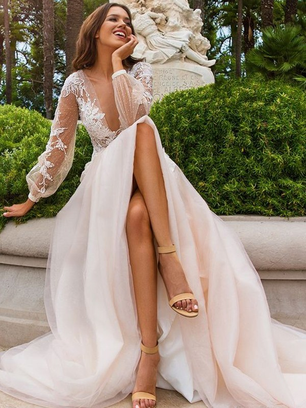 Touch of Texture Princess Style With Applique Tulle V-neck Sweep/Brush Train Wedding Dresses