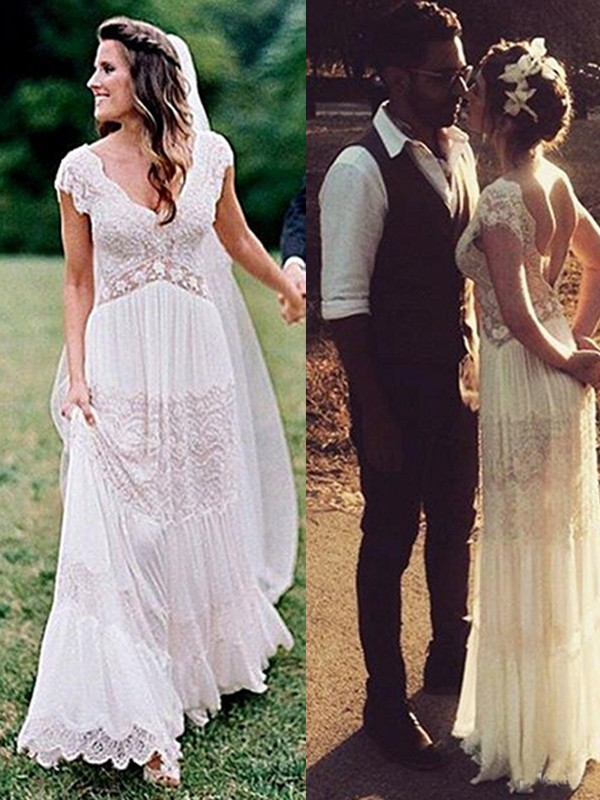 Easily Adored Princess Style Lace V-neck With Ruched Floor-Length Wedding Dresses