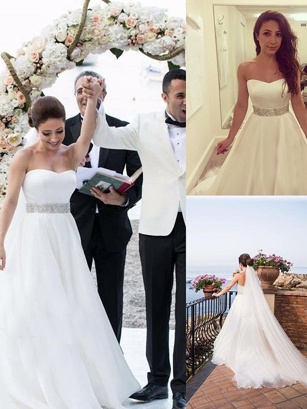 Pleasant Emphasis Princess Style Sweetheart With Beading Tulle Sweep/Brush Train Wedding Dresses