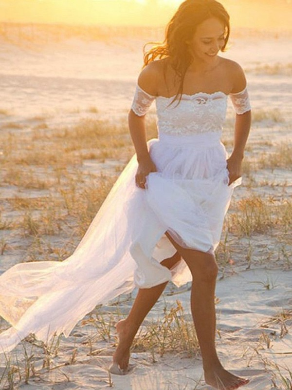 Desired Spotlight Princess Style Chiffon Off-the-Shoulder With Lace Floor-Length Wedding Dresses