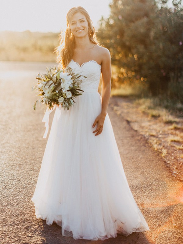 Creative Courage Princess Style Sweetheart Tulle With Ruched Floor-Length Wedding Dresses