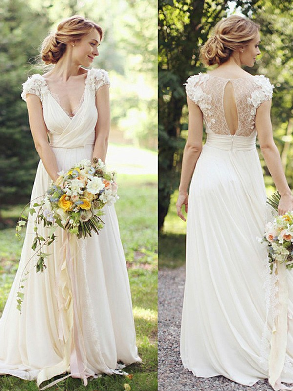 Pretty Looks Princess Style Chiffon With Ruched V-neck Sweep/Brush Train Wedding Dresses