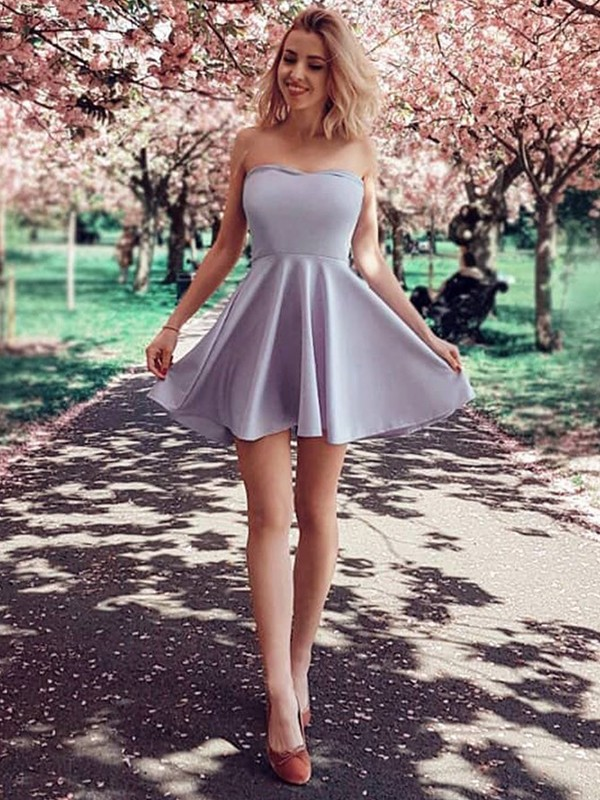 Yours Truly Princess Style With Ruffles Strapless Satin Short/Mini Dresses