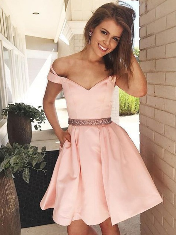 Styled to Smile Princess Style Off-the-Shoulder Satin With Beading Short/Mini Dresses