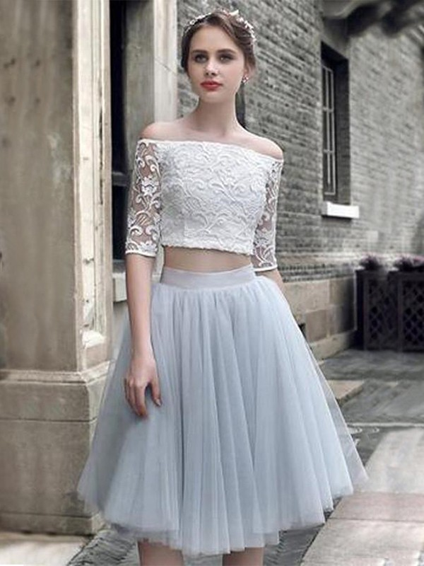 Modern Mood Princess Style Tulle With Ruched Off-the-Shoulder Knee-Length Two Piece Dresses
