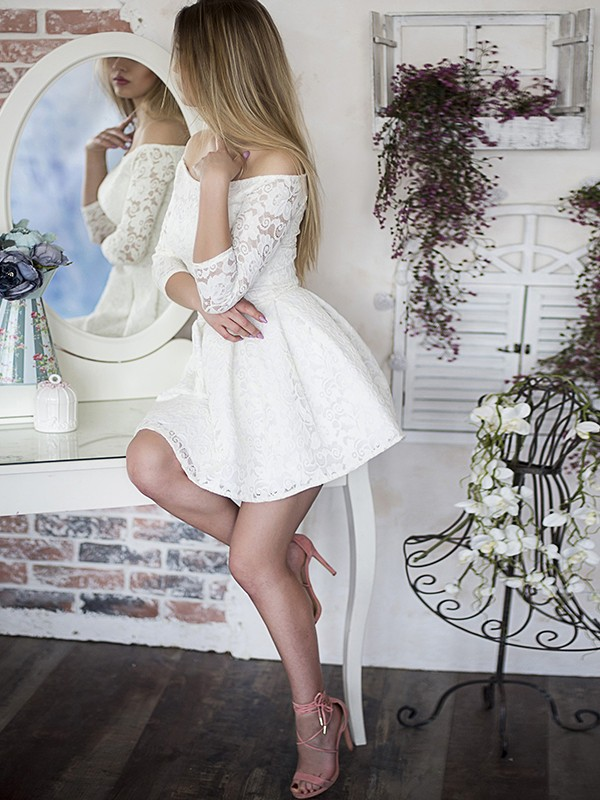 Pretty Looks Princess Style With Ruffles Off-the-Shoulder Lace Short/Mini Dresses
