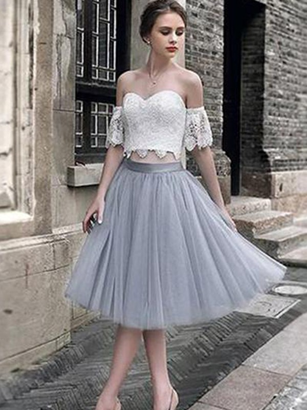 Cheerful Spirit Princess Style Lace Sweetheart Tulle Tea-Length Two Piece Dresses