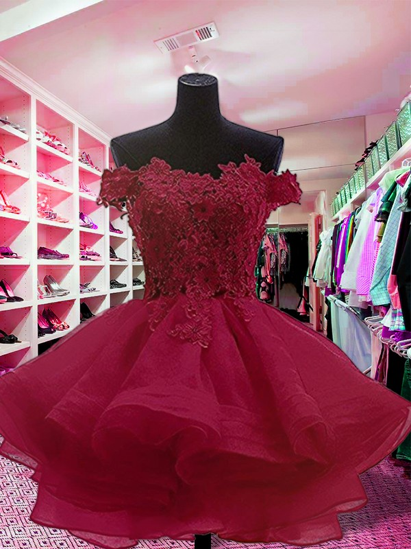 Savor the Occasion Ball Gown Off-the-Shoulder Short/Mini With Applique Organza Dresses