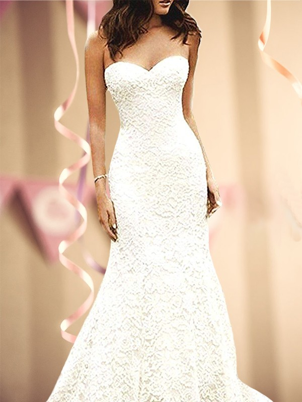 Chic Chic London Mermaid Style Sweetheart Sweep/Brush Train lace Wedding Dresses