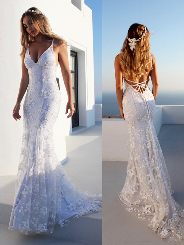 Limitless Looks Mermaid Style Spaghetti Straps Lace Court Train Tulle Wedding Dresses