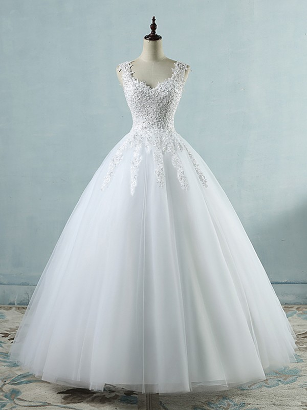 Desired Spotlight Ball Gown V-neck Sweetheart Floor-Length With Applique Tulle Wedding Dresses