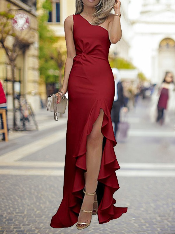 Automatic Classic Sheath Style One-Shoulder Sweep/Brush Train With Ruffles Silk like Satin Dresses