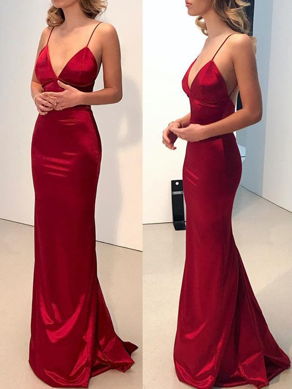 Cordially Delighted Sheath Style Spaghetti Straps V-neck Sweep/Brush Train Silk like Satin Dresses